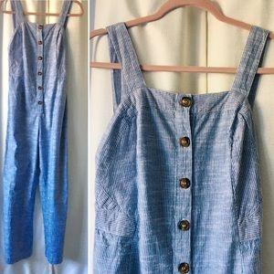 Japna Blue/White Pinstripe Overalls Jumpsuit